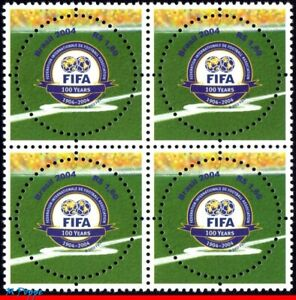 2924 BRAZIL 2004 FIFA CENT., SOCCER FOOTBALL, ROUND STAMP, MI# 3357, BLOCK MNH