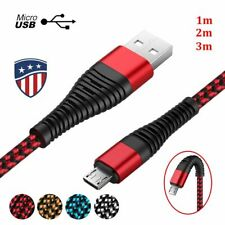 US Micro USB High Tensile Braided 2A Fast Charger Data Cable For Samsung Android