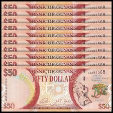 Lot 10 PCS, Guyana 50 Dollars, 2016, P-41, 50th Commemorative, UNC
