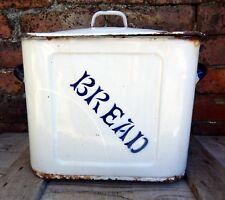 Antique English Vintage 1920s - 1930s Enamel Bread Box Bin Shabby Enamelware