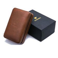 Cohiba Brown Leather Cedar 4 Count Case Humidor Cutter Lighter Cigar Cigarette