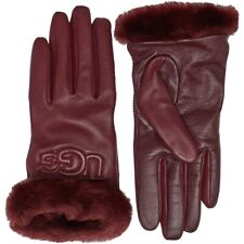 Authentic UGG Classic Leather & Shearling Smart Gloves In Port Size Large