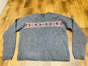 Mens Vintage 100% Shetland wool Fairisle Nordic Icelandic chunky retro Jumper L