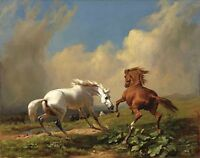Oil painting beautiful animals Frightened Horses Before a Storm in landscape art