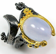 Handmade Jewelry Natural Chalcedony 925 Sterling Silver Ring Size 6.75