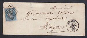 LETTRE FRANCE 1865 - TIMBRE NAPOLEON BLEU - SAUMUR - CACHET N° 3325