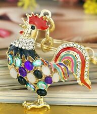 Rooster Keychain Crystals/Gold Tone