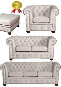 Chesterfield Weiss 3er + 2er Sitzer + Sessel + Hocker + Schlafsofa Stoff Premium