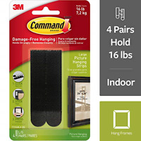 Command Picture Hanging Strips, Large, Black, 4-Pairs 17206BLK-ES