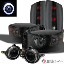 For 2006 Ram Mystery Black Smoked Headlights + Tail Lights + Halo Pro Fog Lights