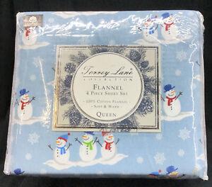 Torrey Lane Cotton 4 Piece Flannel Sheet Set, Queen Size, Snowmen, Brand New