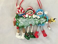 "Multicolor 4X5"" Dangle Leg Family of 3 With Tree Figurine Ornament"