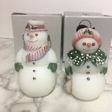 Pair Of Fenton Snowmen Mr & Mrs Snowman 95 Anniversary Edition w/Boxes Christmas