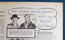 Orig 1952 Butler Building Ad FeaturesBurt and Chet Spafford of Rhilelander Wisc