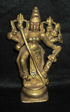 Antique Traditional Indian Ritual Bronze Goddess Durga MahishasurMardini Rare #8
