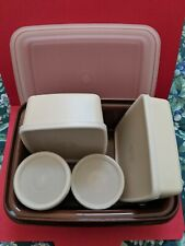 Vintage Tupperware Pack N Carry Lunch Box 1254 Brown with 4 containers