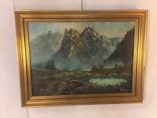 "Oil On Canvas Mountains Signed ""Rosing"" 33""X24"".C12pics4details& size.MAKE OFFER"