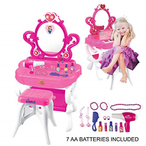 2-in-1 Musical Piano Vanity Set Girls Toy Makeup Accessories with Working Piano