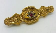 Antique 9ct yellow gold 39 mm Long stone set brooch 1.65 Grams Boxed