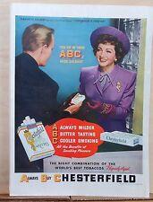 1946 magazine ad for Chesterfield cigarettes - Claudette Colbert, Know ABC's