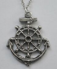 Chain Necklace #2400 Pewter SHIP'S ANCHOR & WHEEL (26mm x 20mm) NAUTICAL