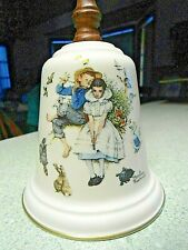 """Norman Rockwell Gorham Porcelain/Wood Bell Love's Harmony 1975 - 9"""" Tall"""