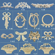 1pc Rubber Oak Wood Carved Bow Applique Onlay Unpainted for Cabinet Furniture