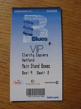 16/02/2013 Ticket: Birmingham City v Watford  (VIP Pass - Main Stand Boxes)