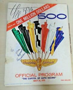 INDIANAPOLIS   SPEEDWAY PROGRAM,1975 INDY 500  Signed   Tony Hulman