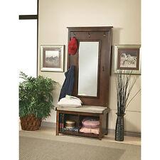 Mirrored Hall Tree Coat Rack Chic Furniture Hallway Decor Walnut Finish Mirror