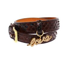 NWT $400 NIALAYA Men's Brown Leather CZ LOVE 18K Gold 925 Silver Bracelet s. M