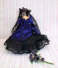 """DOLLS HOUSE - MINIATURE """"GOTH"""" BRIDAL GOWN - PURPLE - WITH BOUQUET"""