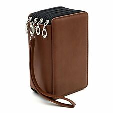 Btsky Pu Bag Leather Pencil Pen Color Case Pouch 72 Slots Holder Brown