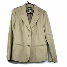 Sag Harbor Womens Beige Blazer Size 12 Lined 2 Buttons Stretch