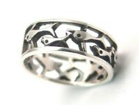 Sterling Silver Ring Dolphins Wide Band Open Design Size 8 New