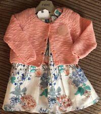 BNWT NEXT BABY GIRLS CARDIGAN DRESS SET UPTO 3 MONTHS PEACH WHITE FLORAL NEW