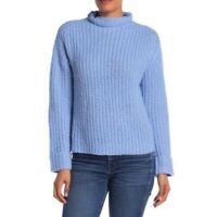 Abound Mock Turtleneck Cozy Rib Knit Pullover Sweater Blue Women S Small NEW