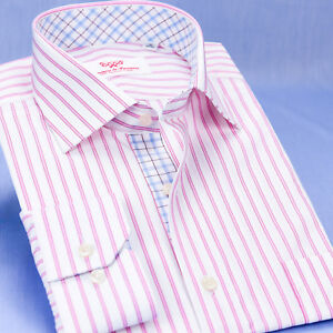 Pink Double Stripe Formal Business Dress Shirt With Quality Smooth Cotton Fabric