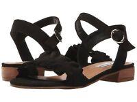 STEVE MADDEN Womens 'Brett' Black Leather Ankle Strap Sandals Sz 9 M - 231385