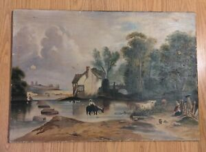 Antique Painting American 19th C Mill Scene & People Philadelphia Canvas as is