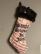 """Juicy Couture Pink Faux Fur Christmas Holiday Stocking 19"""""""