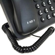 2m Telephone Handset Coiled RJ10 Plug to RJ10 Plug Cable Lead Black [006494]