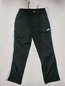 PUMA Athletic Track Pants Black & Sky Blue w/ Side Pockets Women's size Large