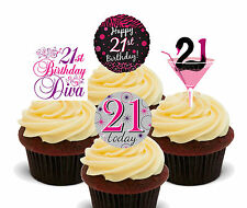 21st Birthday Female Edible Cupcake Toppers, Standup Fairy Cake Decorations Girl