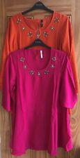 Evans New Pink Orange Embellished Diamante Blouse Tunic Top Size 14 - 32