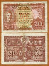 Malaya, 20 cents, 1941, KGVI, P-9a, WWII, VF