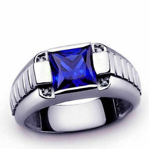 Natural Blue Sapphire & Topaz Gemstone 925 Sterling Silver Men's Ring Us 7 To 9