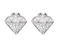 10 Quilates Oro Blanco Hombre Mujer Forma de Diamante Pavé 9mm Pendientes
