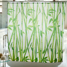 Chinese Style Lucky Green Bamboo Waterproof Bathroom Shower Curtain w/12 Hooks
