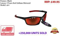 RayZor Black Sports Wrap Sunglasses Uv400 Vented Red Mirrored Lens RRP£49 (401)